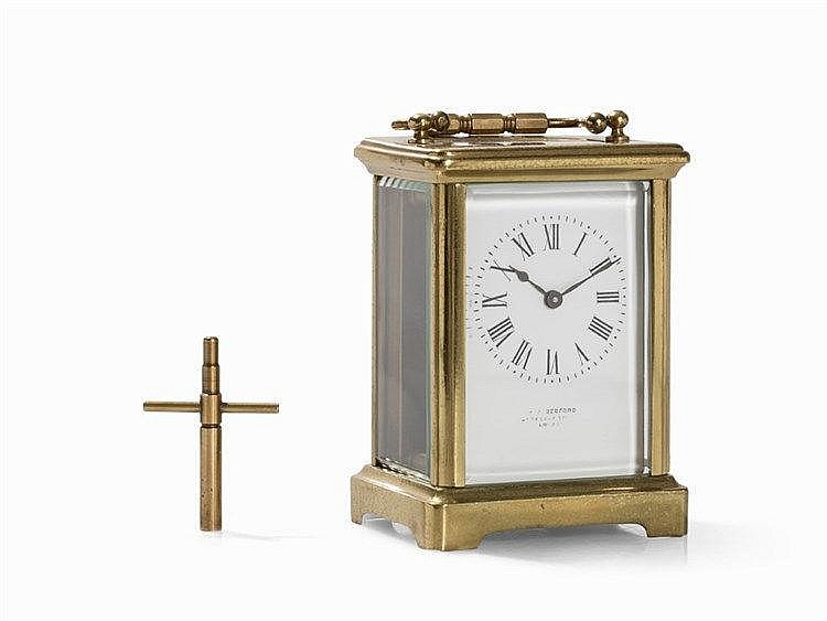 H. W. Bedford Travel Clock, Brass, England, 2nd H. 19th C.