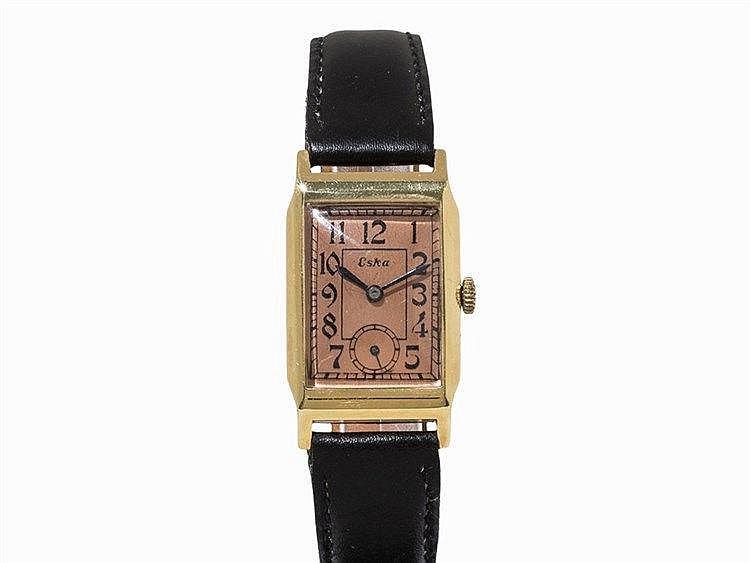 Wristwatch Eska Manual Movement, 14K Yellow Gold, 1940s