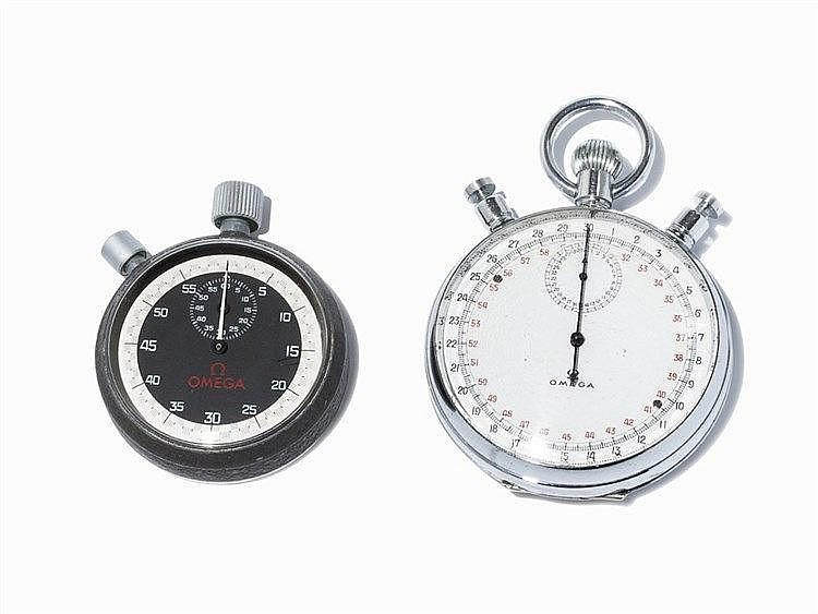 2 Omega Stopwatches and 1 Omega Cover, Pres. 1970s