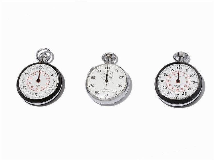 3 Stopwatches & Clip Board, Heuer & Minerva, 2nd half 20th C.
