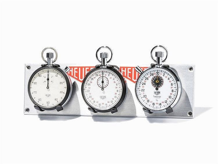 3 Heuer Stop Watches with Dashboard, Switzerland, 1970s