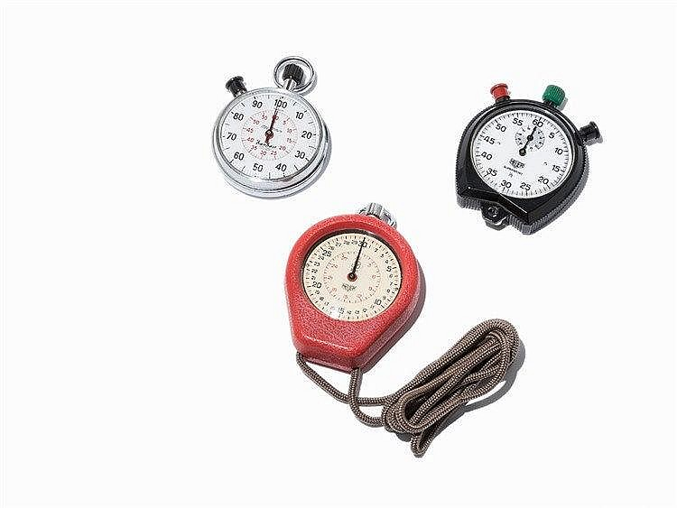 Heuer/Hanhart, 3 Stopwatches, Switzerland, c. 1970
