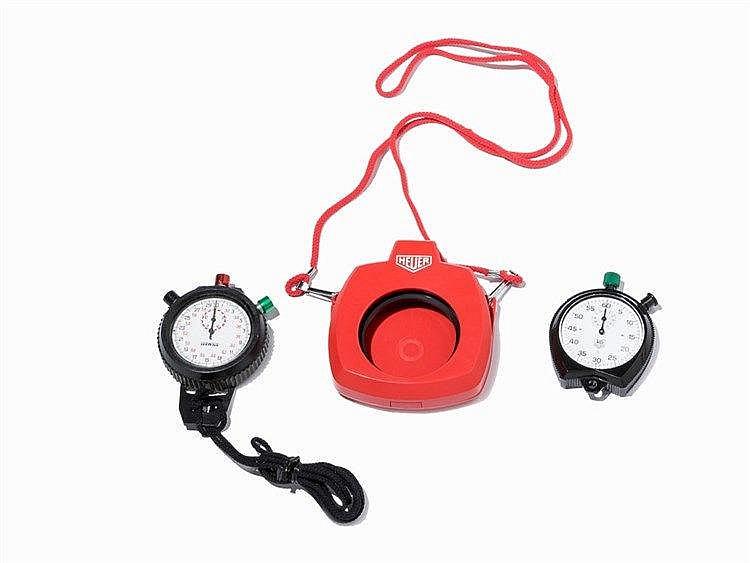 Heuer/Herwins, 2 Stopwatches , 1 Heuer protective case, c. 1970