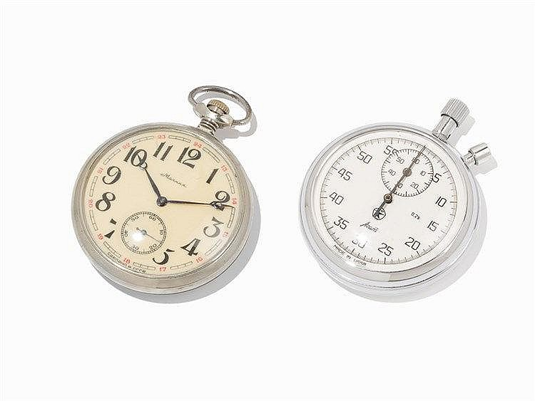 Stopwatch & Pocketwatch with Clipboard, Azam & Molnija, 20th C.