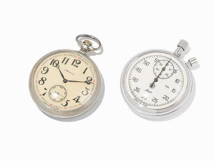 Stopwatch & Pocketwatch with Clipboard, Azam & Molnija, 20th C.