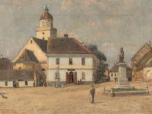 Samuel Brunner (1858-1939), The Main Square in Pohorelice, 1895