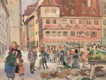 Oskar Laske, Market in Memmingen, Gouache, c. 1900