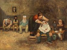 Jean Veber, At the Barber Shop, Oil on Canvas, c. 1900
