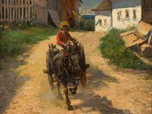 George Gerlach (1874-1962), Donkey & Carriage, Oil, 20th C.