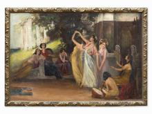W. Ernst, Oil Painting, Dancing Ladies, Germany, c. 1910