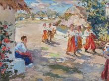 Schlegel, Oil Painting, Village Scene, Ukraine, c. 1920