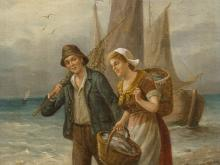 W. Giessel, Oil Painting, Fishing Couple at the Sea, c. 1900