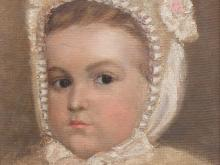 Oil Painting, Portrait of a Girl with Pearl Bonnet, ca. 1900