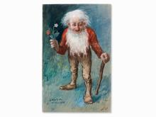 Oskar Herrfurth, Watercolor, Dwarf with Strawberry, 1909