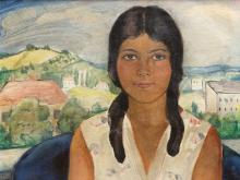 Ölgemälde, Mädchenporträt vor Tessiner Landschaft, Schweiz, '30