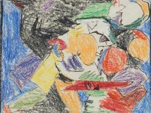 Adolf Hölzel, Landscape with Figures, Wax Crayon, 1920s
