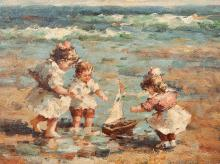A. Dupré, Children Playing on the Beach, France, c. 1920