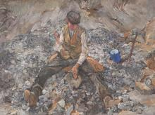 H. Roeger, Oil Painting, Working in the Quarry, c. 1930/40