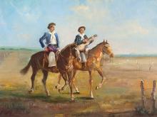 Antonio Gomez, Oil Painting, Gauchos Payadores, c. 1950/60