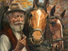 Hans Hübers, Oil Painting 'Farmer with Two Horses', around 1950