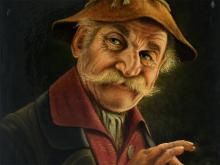 "Oil Painting ""Farmer with Cigar"", Georg Freund, 20th Century"