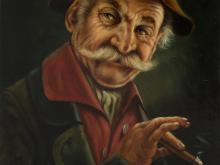 "Oil Painting ""Farmer with Cigar"", Andreas Boné, mid-20th C"