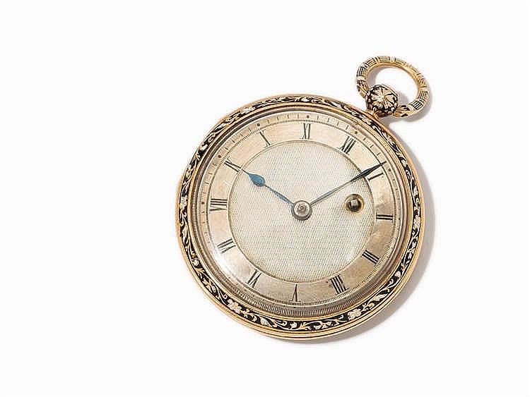 Finely Enameled Open Face Pocket Watch, c. 1850