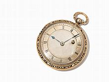 Finely Enameled Open Face Pocket Watch, c. 1850