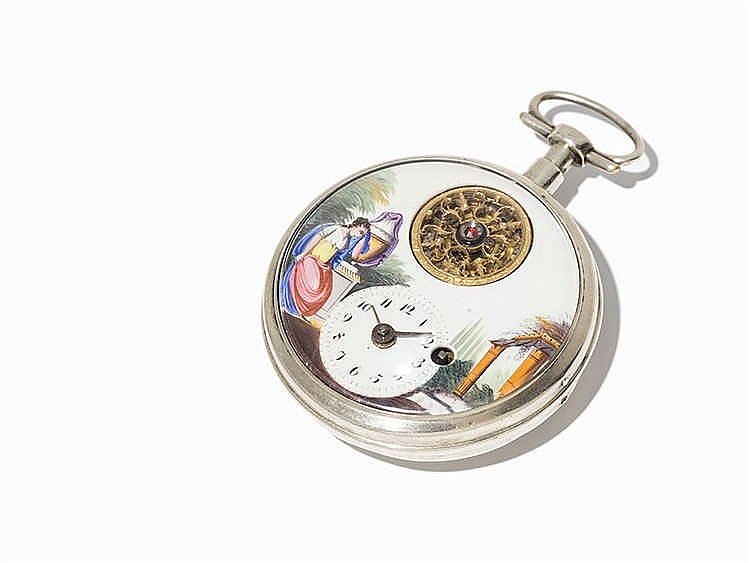 Silver Pocket Watch, Presumably Switzerland, Around 1850