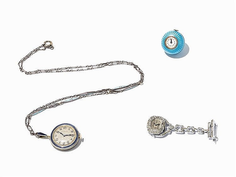 Three Art Deco Pendant Watches, c. 1920