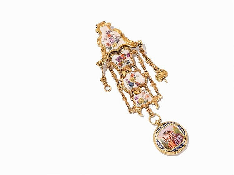 A Finely Enameled Lady's Pocket Watch with Chatelaine, 19th C.