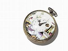 Spindle Pocket Watch With Enamel-Painting, C. 1850