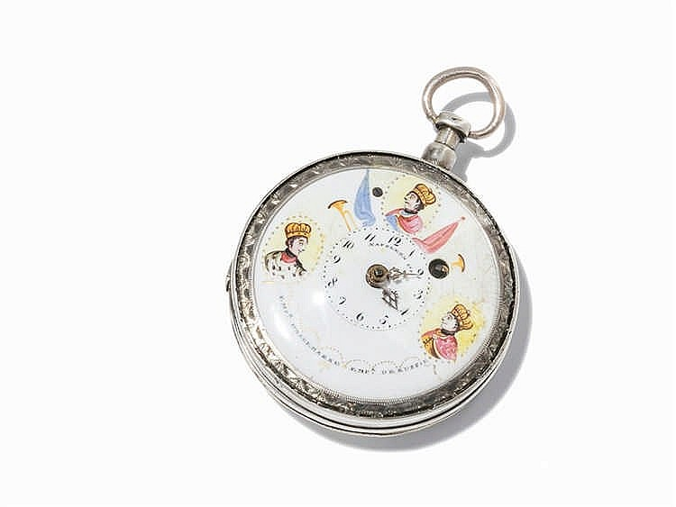 Spindle Pocket Watch with Enamel Painting, c. 1800
