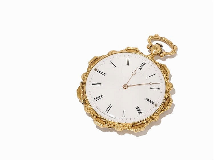 F. Melly Gold Open Face Pocket Watch, Switzerland, c. 1830