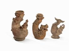 3 Terracotta Vessels 'Mythical Beasts', Majapahit, 13th-16th C.
