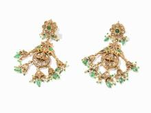 Pair of Mughal Earrings With Peacock Design, 19th C