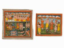 Two Miniature Paintings, Kings and Retainers, India, 19th C.