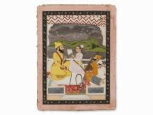 Miniature of Maharaja and a Youthful Courtier, 19th C.