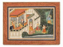Miniature, Radha Listening to Krishna's Flute, India, 1830-60
