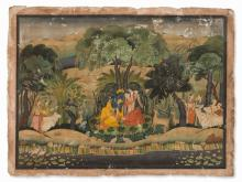 Painting, Krishna and Radha in a Forest Bower, late 19/20th C
