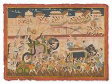 Painting, A Maharaja Leads the Holi Celebrations, 19/20th C.