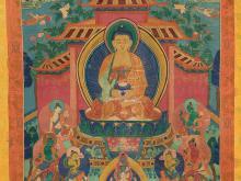 Thangka with Amitabha Buddha in Paradise, 19th C.