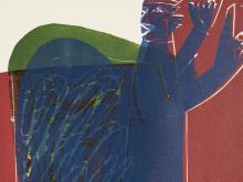 HAP Grieshaber, Der Engel der Geschichte, Color Woodcut, 1964