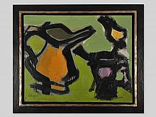 Acryl painting 'Green abstraction' by Serge Labégorre, 20th C