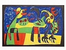 Joan Miró, Lithograph, Le Chien Aboyant à la Lune, 1952