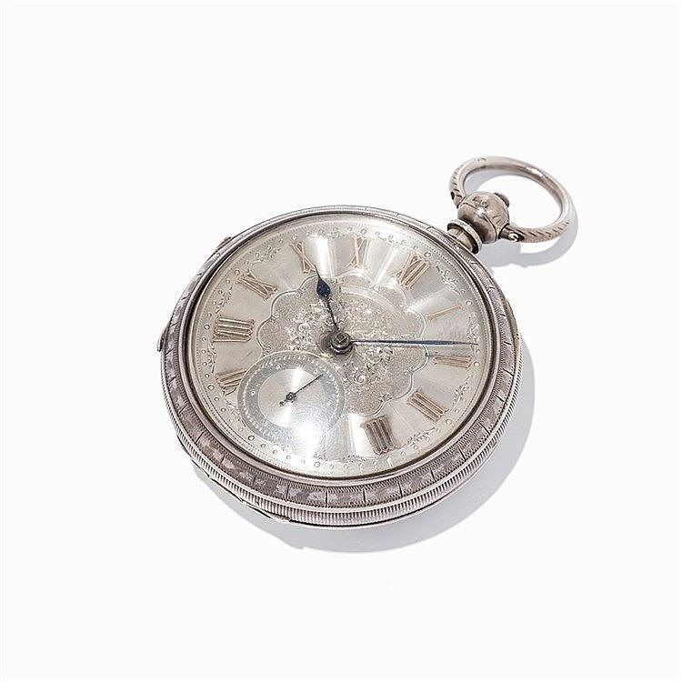 English Silver Spindle Pocket Watch, c. 1890