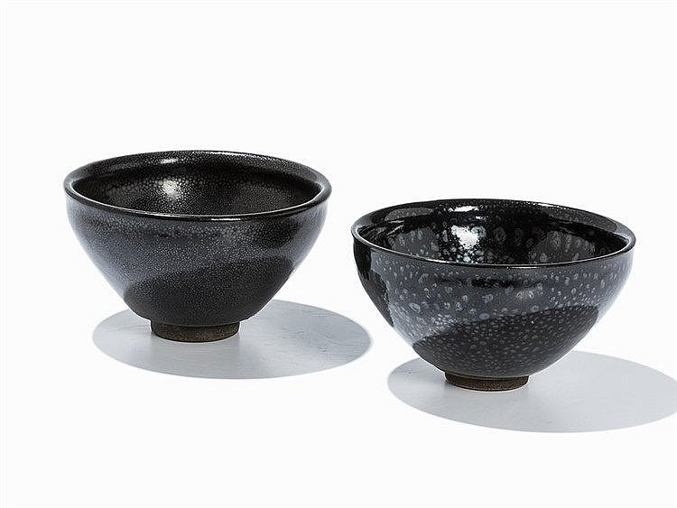 Two Temmoku Tea Bowls with 'Oil Spot' Glaze, Jian Ware
