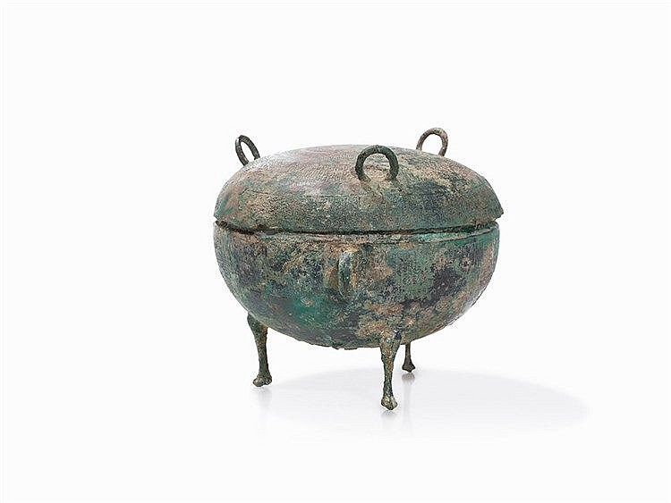 Bronze Vessel DING with Cover, Late Zhou-Dynasty