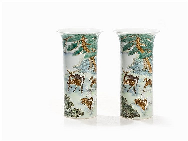 Pair of Cylinder Vases with Deer Motifs, China, Republic