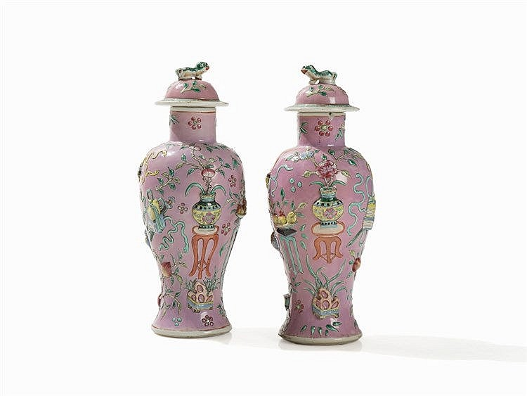 Pair of Famille Rose Vases with Rose Colored Ground, 20th C.